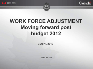 WORK FORCE ADJUSTMENT Moving Forward
