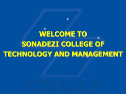SONADEZI COLLEGE OF TECHNOLOGY AND MANAGEMENT