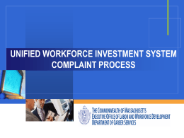 Unified Workforce Investment Complaint System