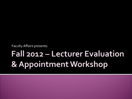 Lecturer Evaluation and Appointment Workshop Presentation