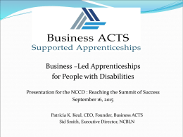 Business ACTS Supported Apprenticeships