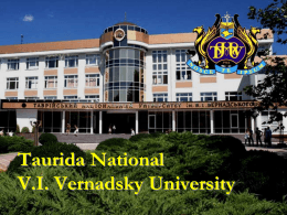 Taurida National V.I. Vernadsky University Irina Andryushenko