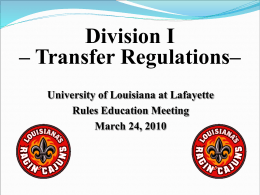 March 2010 Rules Education Presentation - Division I