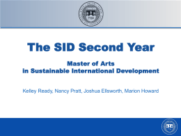 MA/SID First Year General Information