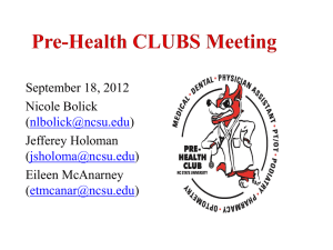 Pre-Health Clubs Meeting