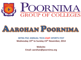 Aarohan Presentation - Poornima Group of Colleges