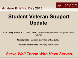 Student Veteran Support - University Advisors and Counselors