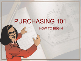 PURCHASING 101 - Weber School District