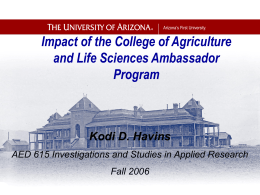 Impact of the College of Agriculture and Life Sciences Ambassador