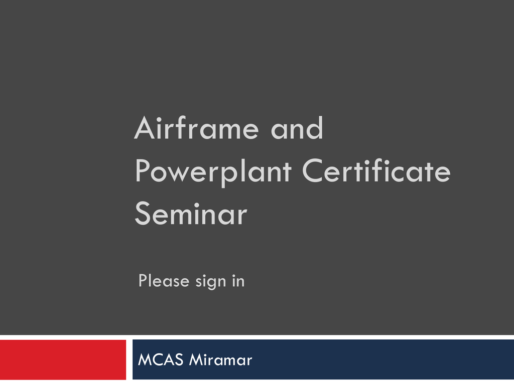 FAA Presentation - Marine Corps Community Services Miramar