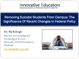 Removing Suicidal Students from Campus