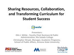 Sharing Resources, Collaboration, and Transforming Curriculum for