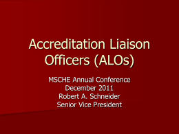 Roles and Responsibilities of the Accreditation Liaison Officer (ALO)