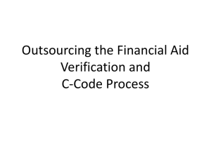 Outsourcing the Financial Aid Verification and C-Code