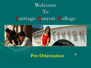 Welcome To Santiago Canyon College