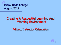 Adjunct Orientation - Miami Dade College