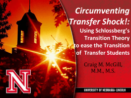 Circumventing Transfer Shock! - National Institute for the Study of