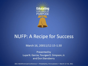 NUFP: A Recipe for Success