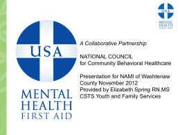 Mental Health First Aid Powerpoint Presentation