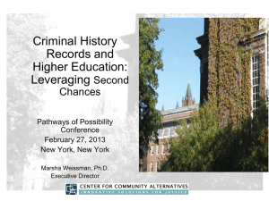 M. Weissman. (2013). Criminal History Records and Higher Education