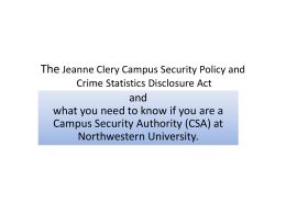 The Jeanne Clery Campus Security Policy & Crime Statistics