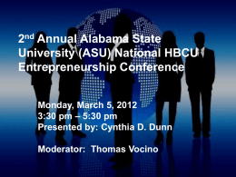 2 nd Annual Alabama State University (ASU) National HBCU