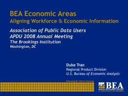 BEA Economic Areas Aligning Workforce