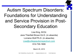 PowerPoint Presentation - Toolbox for Transition: Autism