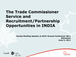 The Trade Commissioner Service and Recruitment/Partnership