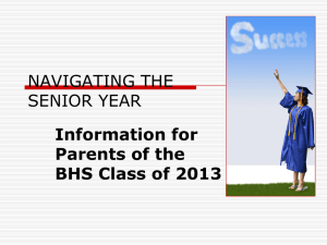 SENIOR PARENT MEETING - Brookwood High SChool Counseling