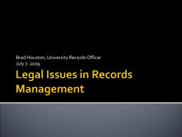 Legal Issues in Records Management