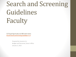 Search and Screening Guidelines