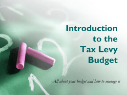 Introduction to the Tax Levy Budget - Brooklyn College