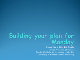 Setting the Stage- Building your plan for Monday