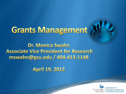 Grants Management for PIs - University Research Services