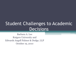 Student Challenges to Academic Decisions