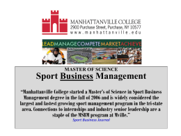 MASTER OF SCIENCE Sport Business Management