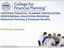 Retirement Big Concepts - College for Financial Planning