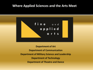 Where Applied Sciences and the Arts Meet Department of Art