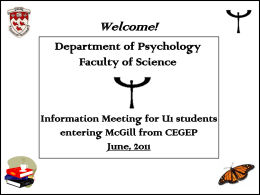 Orientation Slides for New SCIENCE Majors in