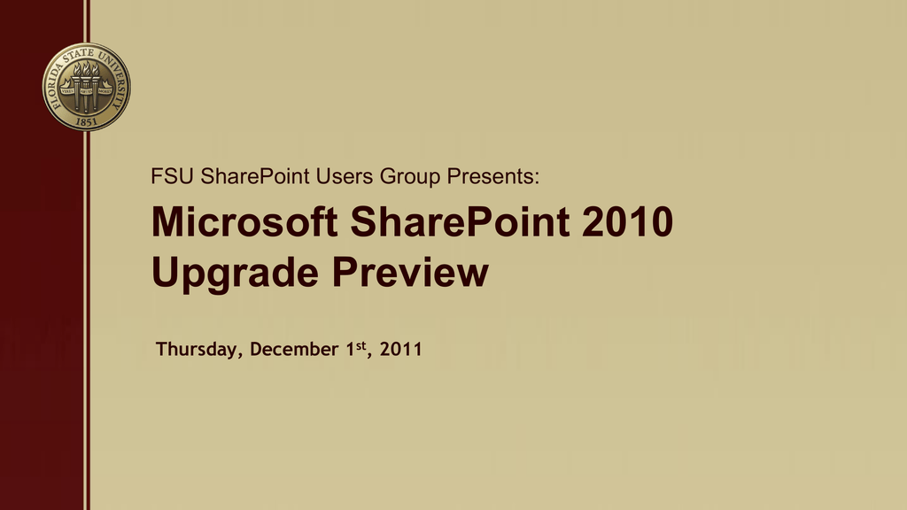 SharePoint 2010 Upgrade Preview PowerPoint Presentation