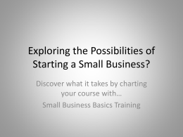 Small Business Basics Presentation for Students