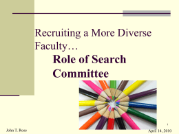 HERC Role of Search Committee in Recruiting a More Diverse Faculty