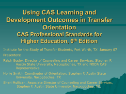 Using CAS Learning and Development Outcomes in Transfer
