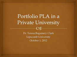 Introducing Portfolio-Evaluation PLA to a Private University