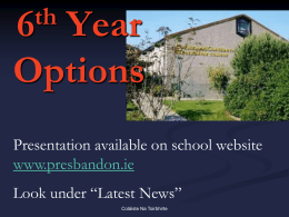 CAO information for parents of 6th yr 2014