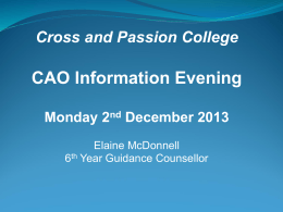 CAO Application Number - Cross & Passion College
