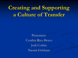 Culture of Transfer San Diego Mesa College