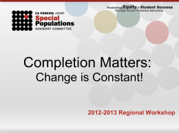 Completion Matters- Change is Constant Workshop