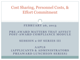 Cost Sharing, Personnel Costs, and Effort Commitment